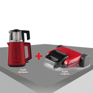 Arcelik Kırmızı Lal Çay ve Tost Keyfi 2'li Çeyiz Seti